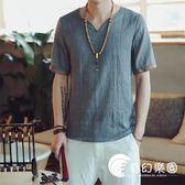 中國風男裝夏季薄款短袖t恤大碼亞麻半袖修身V領上衣百搭棉麻汗衫-奇幻樂園