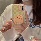 【買一送一】韓風棋盤格流沙支架適用蘋果12/11Pro Max手機殼X/XS新款XR女【西語99】