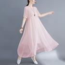 中大尺碼洋裝 夏季新款文藝韓版大碼胖妹妹 寬鬆休閒顯瘦洋氣遮肉連身裙女裝