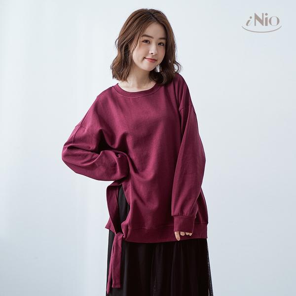 簡單純色側邊自由綁帶設計長袖上衣棉質上衣(S-L適穿)- 現貨快出【C9W1030】 iNio 衣著美學