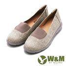 W&M 拼色異材質樂福鞋 女鞋-米(另有藍、黑)