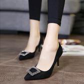 歐美春季尖頭細跟女鞋中跟單鞋水鉆方扣高跟鞋紅色婚鞋黑色工作鞋