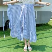 荷葉邊不規則繫帶格子半身裙女夏一片式裹裙中長款女度假沙灘長裙 初色家居館