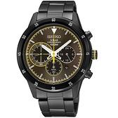 SEIKO精工 Criteria極速風格三眼計時腕錶-黑x咖啡 V175-0DA0G/SSC343P1