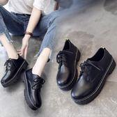 黑色鞋子軟妹小皮鞋女夏春季2018新款韓版平底百搭學生中跟學院風『小淇嚴選』