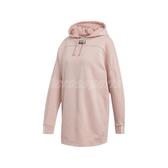 adidas 長袖T恤 Hooded Dress 粉紅 黑 女款 帽T 長版 洋裝 【PUMP306】 ED7448