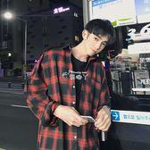 男士寬鬆格子襯衫外套長袖休閒學生上衣韓版紅色男裝襯衣潮流 俏腳丫