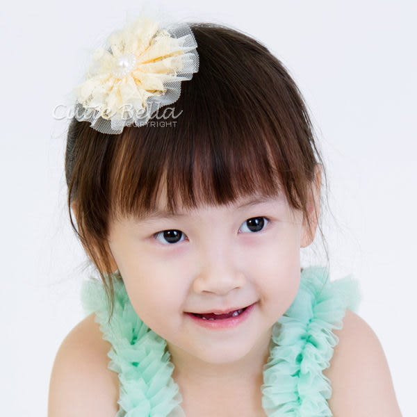Cutie Bella蕾絲珍珠花朵Lace Pearl Flower髮夾-Cream