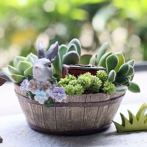 CARMO花朵兔兔木桶多肉花盆盆栽(單入)【D003001】