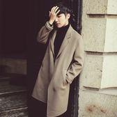 風衣外套-英倫時尚翻領帥氣中長版毛呢男大衣2色73ip1[時尚巴黎]