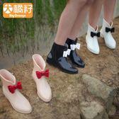 BigOrange韓國可愛時尚中筒短筒防滑雨鞋雨靴套鞋水鞋女成人女士【元氣少女】