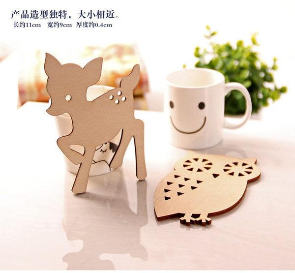 【發現。好貨】zakka木質動物杯墊 松鼠 小鹿斑比 貓咪 貓頭鷹可愛造型杯墊 隔熱墊 交換禮物