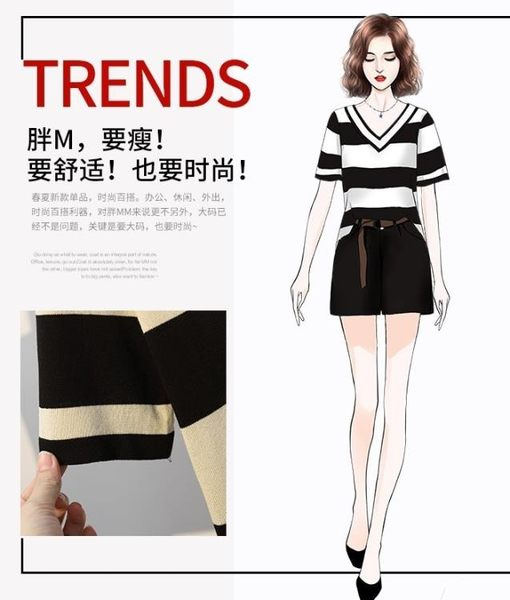 促銷價不退換短褲套裝兩件套XL-5XL中大尺碼31956女裝顯瘦短袖冰絲針織上衣 休閑百搭短褲兩件套裝
