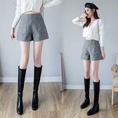 打底短褲女冬毛呢休閑褲外穿呢子靴褲毛呢闊腿褲子T632紅粉佳人