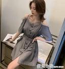 小個子仙女吊帶裙子女夏季2021新款氣質性感蕾絲邊一字露肩洋裝 蘇菲小店
