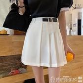 百摺裙 小黑裙夏季2020新款不規則高腰半身裙女學生百摺裙顯瘦A字裙短裙 爾碩 雙11