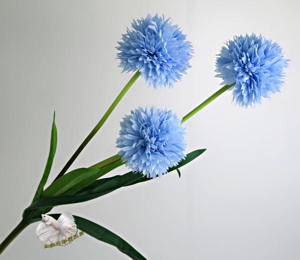 藍色 3頭小蒼球 仿真圓蔥球假花 人造花花束☆插花.居家.店面.櫥窗擺飾.園藝☆