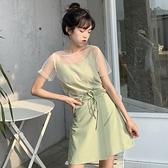 套裝 兩件式 三件套女夏新款韓版網紗透視上衣 背心吊帶 綁帶半身裙子套裝