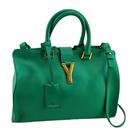 YSL 綠色牛皮Y字金釦手提斜背兩用Cabas波士頓包(九成新)