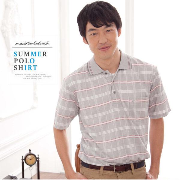 【大盤大】(P50671) 男 有領POLO衫 短袖 條紋休閒衫 口袋棉衫 運動衫 禮物【XL和2XL號斷貨】