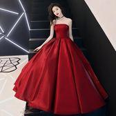 晚禮服 敬酒服禮服裙酒紅色抹胸新娘結婚晚禮服名媛聚會連身裙 巴黎春天