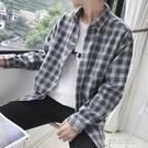 薄外套男新款春秋季格子襯衫男士長袖襯衣薄款外套韓版潮流寬鬆帥氣 原本良品