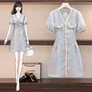 VK精品服飾 韓國風名媛復古紋理假口袋優雅短袖洋裝