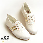 小白鞋 假鞋帶側雙槓休閒鞋- 山打努SANDARU【107A581#46】