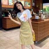 超殺29折 韓系印花T恤高腰格紋半身裙套裝短袖裙裝