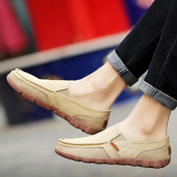 一腳蹬夏日休閒帆布鞋48老北京牛筋底加大碼布鞋子45防臭46懶人47  雙十二全館免運