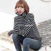 衛衣  長袖T恤女條紋高領打底衫 韓版女裝純棉百搭內搭上衣潮  瑪奇哈朵