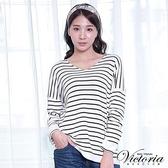 Victoria V領落間長袖線衫-女-灰藍紗/黑白條紋
