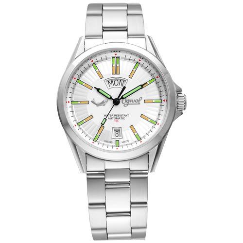 Ogival 瑞士愛其華 飛行官氚氣時尚自動機械錶-白/38.5mm