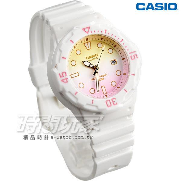 CASIO卡西歐 LRW-200H-4E2 渲染漸層設計迷你潛水風指針運動錶 女錶 白x紅粉黃 LRW-200H-4E2VDR