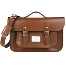 【The Leather Satchel Co.】14吋英國手工牛皮劍橋包 手提 肩背包 後背包 三用包新款磁釦設計(栗木棕)