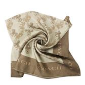 【COACH】馬車LOGO 桑蠶絲絲巾方巾(金)