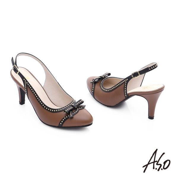A.S.O 注目嬌點 真皮蝴蝶結鉚釘後空高跟鞋  茶