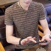 新款男士短袖t恤冰絲V領半袖個性韓版潮流男裝修身上衣服 中秋節低價促銷