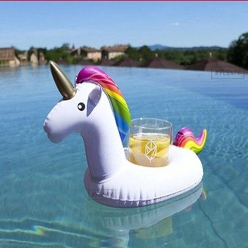 【現貨】梨卡- 夏日白色獨角獸造型特色充氣飲料杯飲料用手機座游泳圈玩水必備M087