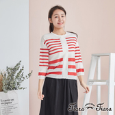 【Tiara Tiara】雙排扣條紋針織長袖上衣(紅)