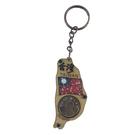 【收藏天地】台灣紀念品*寶島造型木質鑰匙圈-台灣國旗錢幣