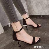 低跟涼鞋涼鞋新款女韓版黑色百搭細跟中跟性感貓跟女鞋學生高跟鞋 金曼麗莎