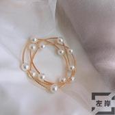 感多層交叉珍珠手鍊可作項鍊小清新迷人ins少女超仙氣質手鐲【左岸男裝】