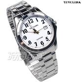 TIVOLINA 標準時刻 都會紳士 數字錶 男錶 日期顯示窗 白色 MAW3760WA