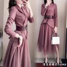 法式西裝洋裝女2021年早春季新款職業氣質小香風秋冬兩件套裙子 蘿莉新品