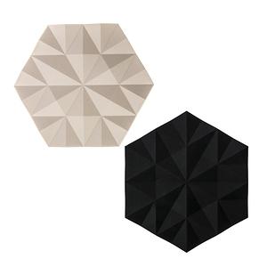 (組)丹麥ZONE FACET系列菱紋矽膠鍋墊-黑+櫸木黃