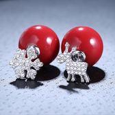 耳環 925純銀鑲鑽銀飾-雪花小鹿生日情人節禮物女飾品73dy158【時尚巴黎】