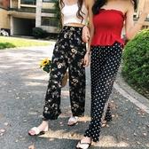 高腰雪紡薄款闊腿褲女2019春夏新款chic微喇叭褲韓版寬鬆波點褲子