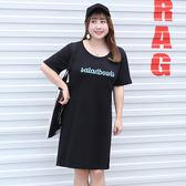 中大尺碼~個性印花長款T恤短袖連衣裙(XL~4XL)