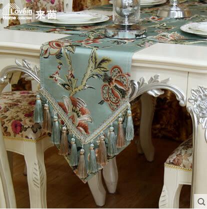 歐式奢華漸變藍色雪尼爾色織提花現代時尚桌旗桌布餐墊